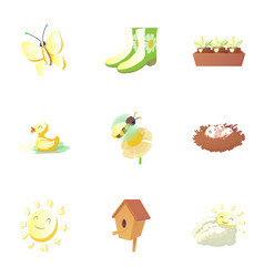 time of year spring icons set cartoon style vector image