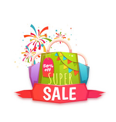 big sale banner with color packet and confetti vector image vector image