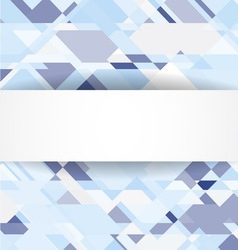 Blue geometric background with white banner vector image vector image