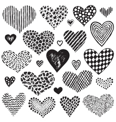 collection of hand drawn sketch hearts vector image vector image