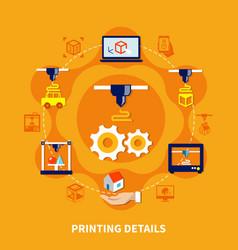 details for 3d printer on orange background vector image vector image