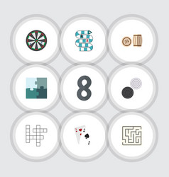flat icon games set of arrow jigsaw lottery and vector image vector image