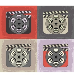 Grunge retro cinema icons vector image vector image