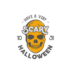halloween party label template with skull and vector image vector image
