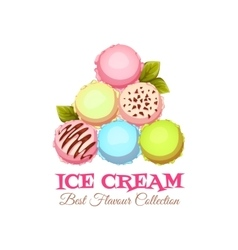 Ice cream pyramid banner with sample text vector image vector image