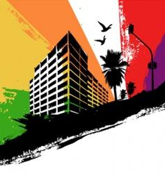 rainbow city vector image vector image