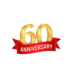 sixtieth anniversary with red ribbon vector image vector image