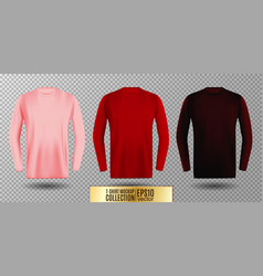 three shades of pink red and vinous long sleeve t vector image