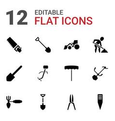 12 shovel icons vector