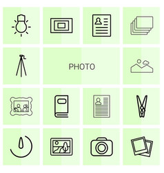 14 photo icons vector image