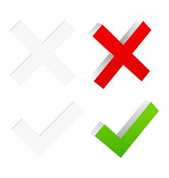 3d checkmark and cross with flat symbols included vector image