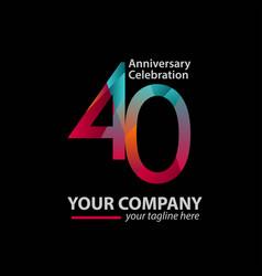 40 year anniversary celebration company template vector