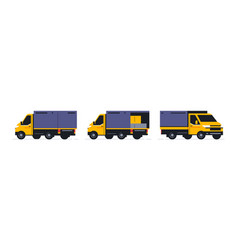 A set of trucks for an online parcel delivery vector