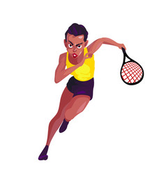 A swarthy woman in a sport suit runs with a tennis vector