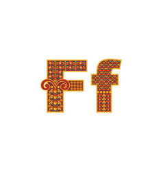 Abstract letter f with ornamental pattern vector