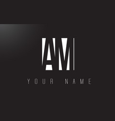 Am letter logo with black and white negative vector