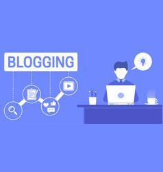 an of a blogger who creates marketing vector image