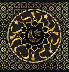 arabic golden luxury seamless pattern on black vector image
