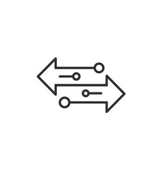 Arrow to left and right line icon isolated on vector