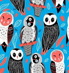 Autumn seamless graphic pattern of owls vector