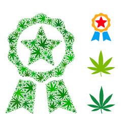 Award mosaic of cannabis vector