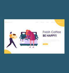 barista character making drink at coffee machine vector image