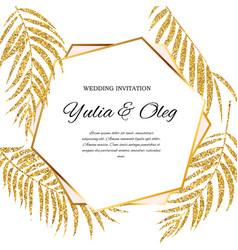 Beautifil wedding invitation with palm tree leaf vector