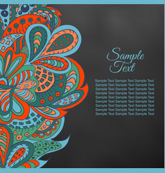 Black doodle ethnic card red and marine colors vector