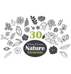 Black White Natural Elements 30 Set vector