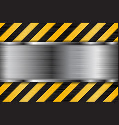 Brushed metal texture with black yellow stripes vector