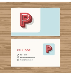 business card letter P vector image
