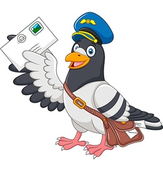 Cartoon funny pigeon delivering letter isolated vector image