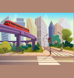 Cartoon modern city panorama with glass vector