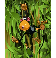 cartoon monkey hanging on liana vector image