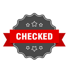 Checked red label checked isolated seal checked vector