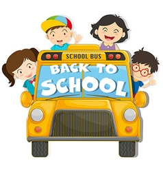 Children riding on the school bus vector image
