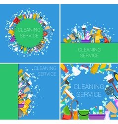 cleaning service supplies vector image vector image