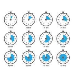 clock symbols timers minutes and hours circle vector image