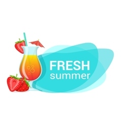Cocktail and strawberries with text vector image vector image
