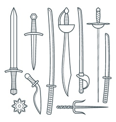 cold weapons outline set vector image