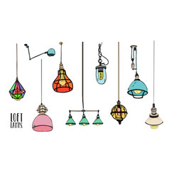 Collection different colored loft lamps or vector