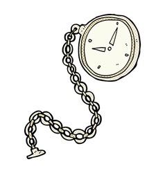 Comic cartoon silver watch vector