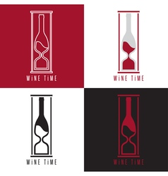 concept with bottle of wine and sandglass vector image