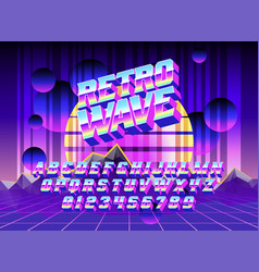 Cool typeface retro wave vector