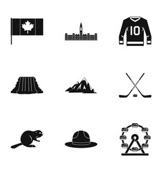 country of canada icon set simple style vector image