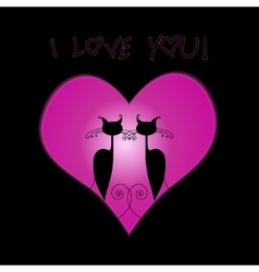 Couple cat in love in the big heart vector image
