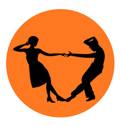 Couple man and woman dancing vintage dance black vector