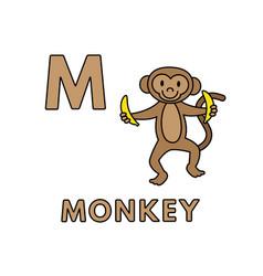 Cute cartoon animals alphabet monkey vector