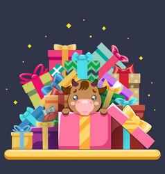 cute cartoon bacow ox cub gift box isometric vector image