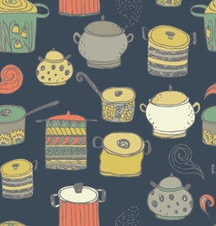 Cute cooking pots and lettering vector